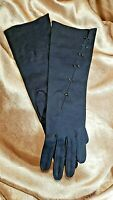 Vintage 1960s Double Woven Cotton by Dawnelle Black Adorned Womens Gloves Sz 6