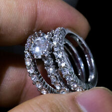3pcs/set 925 Silver Filled Women Wedding Set Rings White Sapphire Ring Size 10