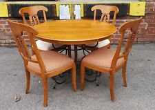 Ethan Allen Legacy Collection Maple Table w/ Wrought Iron Base & 4 Side Chairs