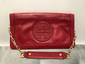 Authentic TORY BURCH Bombe Reva  Red Leather Shoulder Bag Clutch