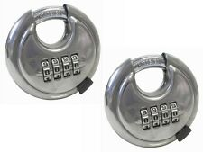 2 x Combination Disc Padlocks - 70mm Heavy Duty Padlocks - Stainless Steel body