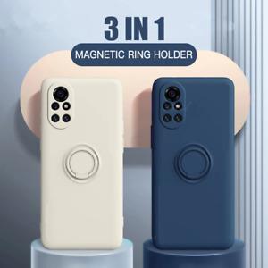 Ring Stand Case For Xiaomi Redmi Note 10 POCO F3 Mi 11 10T Liquid Silicone Cover