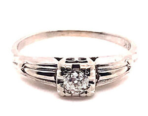 Art Deco Diamond Solitaire Engagement Ring .15ct Old Euro 18K White Gold Vintage