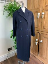 LADIES 1980S VINTAGE 'PRINCIPLES' EXTRA LONG RETRO DARK NAVY BLUE WOOL COAT 12