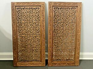 """(2) Vintage Wood Hand Carved Wall Decor Panel Floral Flowers Wall Art 24""""x12"""""""