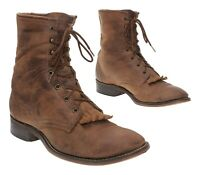 LAREDO Cowboy Boots 12 D Mens Brown Leather Packer Roper Lace Up Western Boots