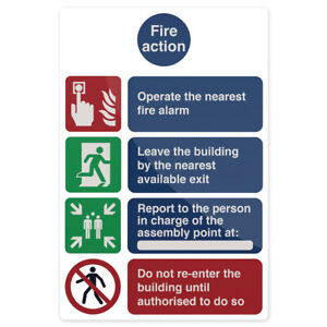 200mmx300mm Fire Action Safety Instructions Notice, Premises Sign Stick-on Vinyl