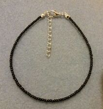 Black Handmade Seed Bead Ankle Bracelet Chain Opaque Anklet