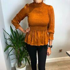 CICI Rella Satin Shirred Top In Orange