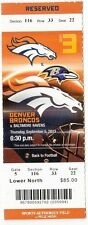 2013 DENVER BRONCOS VS RAVENS TICKET STUB 9/5/13 PEYTON MANNING 7 TD RECORD GAME