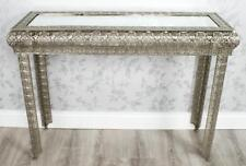 SILVER MOROCCAN EMBOSSED METAL GLASS CONSOLE SIDE HALL TABLE (Z420)