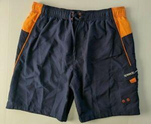 Speedo Men's Swim Trunk, Blue/Orange, Men's XL