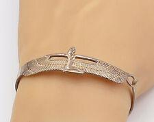 925 Sterling Silver - Vintage Egyptian Goddess Isis Bangle Bracelet - B8300