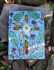 Folk Art ORIGINAL Mixed Media Christian Cross Wooden Mosaic Painting Bug Berry