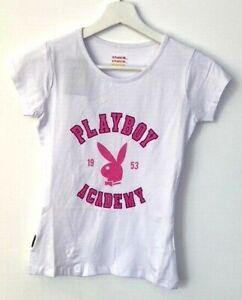 Playboy Womens Short Sleeved T-shirt Top White RRP £12