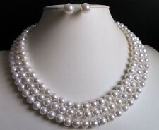 """3 Rows 8MM White Akoya Shell Pearl Round Beads Necklace Earrings Set AAA 17""""-19"""""""