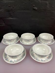 5 x Wedgwood Angela Soup Bowls and Stand / Saucers Set