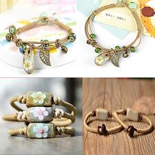 Boho Adjustable Weave Chain Women Ceramics Flower Bell Pendant Bangle Bracelets