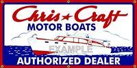 CHRIS CRAFT MOTOR BOATS VINTAGE SIGN REMAKE OLD SCHOOL BANNER GARAGE ART 2 X 4
