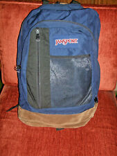 Vtg JANSPORT Backpack SUEDE Leather bottom  10-001 USA Vintage Blue Bag