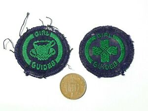 2 x Vintage Embroidered Cloth Badge Patch Girl Guides Hostess & Child Nurse #G1