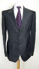 Maestrami Mens Suit, Shiny Black Striped, Chest 44UK (EU54),Trousers 36, VGC