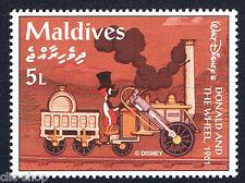 WALT DISNEY 1 FRANCOBOLLO MALDIVES DONALD AND THE WHEEL TRENO 5L - 1961 nuovo