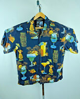 AFTCO BLUEWATER Hawaiian Shirt Tiki Hula Wahine Cocktail Handcrafted in USA XL
