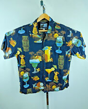 AFTCO BLUEWATER Hawaiian Shirt Tiki Hula Wahine Cocktail Handcrafted in USA XL
