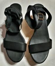 NISOLO Sarita Wooden Wedge Sandals Black SIZE 8.5