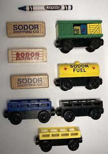 Vintage Thomas Wooden Train Set Cargo Lot Fuel Tanker Box Car Sodor Crate.  Brio