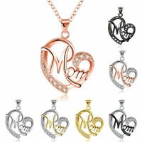 Stylish Charm Mother's Day Gift Crystal Mom Love Heart Pendant Chain Necklace