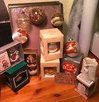 Lot of  12 Vintage Glass Ornaments, - 70's & 80's Glass & Ceramic-Hallmark, Etc.