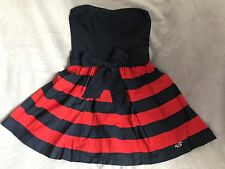 Hollister Strapless Navy & Red Stripe Skater Dress