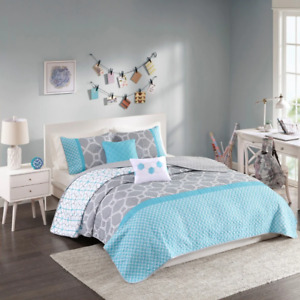 NEW! ~ MODERN SPORTY COZY AQUA LIGHT BLUE GREY WHITE CHEVRON GEOMETRIC QUILT SET