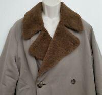 Polo Ralph Lauren Mens Wool Alpaca Coat 40 Brown Lined Long Italy Shearling VTG