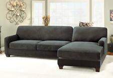 NEW Stretch Pique Five Piece Sectional Slipcover RIGHT  Chaise Black IN PACKAGE