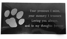 3D Laser Engraved Black Granite Pet Memorial Marker 12 x 6 inches Paw Print