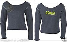 ZUMBA FITNESS Top Tee Sweat Shirt  EDGY ROCKING Off the Shoulder Blue Jean Denim