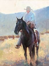 Original oil painting signed Western Art Hereford cattle cowboy horse chaps cow