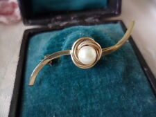 Antique vintage 9ct Gold Australian White Pearl bar Brooch pin 9 ct yellow Gold