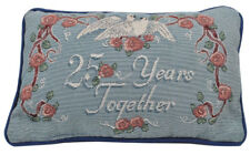 NEW Tapestry Word Throw Pillow CUSHION 25 Years Together Roses and Doves