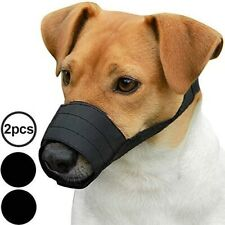 Adjustable Dog Muzzle Set 2Pcs Nylon Safety Mouth Cover Size Xs/S Black