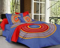 Indian Floral Cotton Jaipuri Double Bed Sheet With 2 Pillow Covers,Sapphire Blue