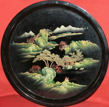 Vintage Asian Hand painted Round Plastic Landscape Tray