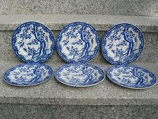 6 ASSIETTES DESSERT Porcelaine Japonaise TONS BLEUS 17,7 cm