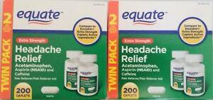 Equate Extra-Strength Headache Relief 400 Tabs, Acetaminophen Aspirin Caffeine