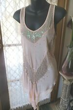 VINTAGE Style  ~JUST JEANS ~ Peach/Sequinns Long TOP * Size XS * NWT * SALE !!