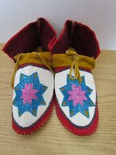STUNNING FULL BEAD MOCCASINS, 10.5 INCHES, PINK/BLUE, AUTHENTIC NATIVE AMERICAN