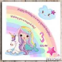 Unicorn Mermaid Birthday Card Daughter Niece Granddaughter Girl 4th 5th 6th 7th